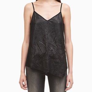 NWT Calvin Klein Top, edgy black leather look